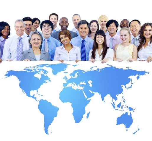 Business People Holding Board with the World Map